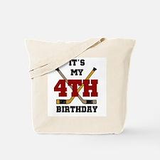 Hockey 4th Birthday Tote Bag