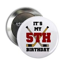 Hockey 5th Birthday Button