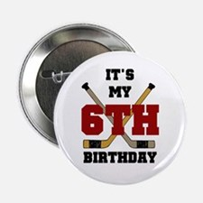 Hockey 6th Birthday Button