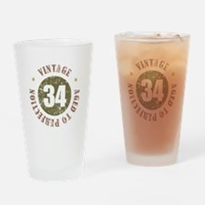 34th Vintage birthday Drinking Glass
