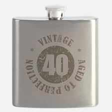 40th Vintage birthday Flask