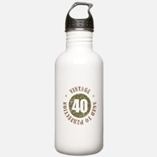 40th Vintage birthday Water Bottle