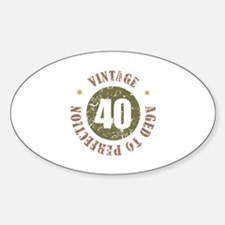 40th Vintage birthday Sticker (Oval)