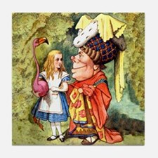 Alice and the Duchess Play Croquet Tile Coaster