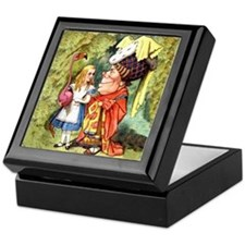 Alice and the Duchess Play Croquet Keepsake Box