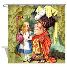 Alice and the Duchess Play Croquet Shower Curtain