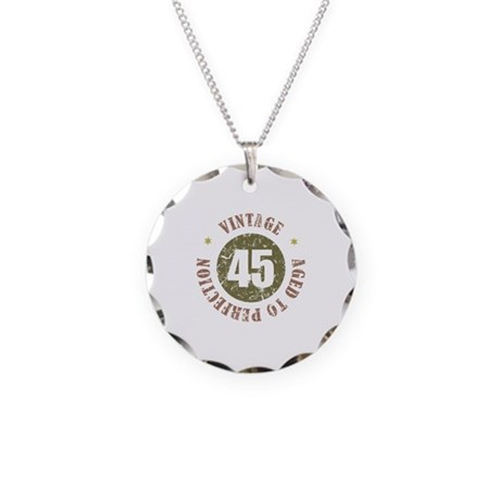 45th Vintage birthday Necklace Circle Charm