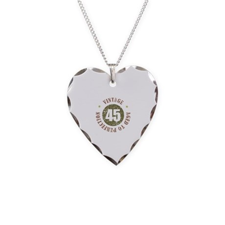 45th Vintage birthday Necklace Heart Charm
