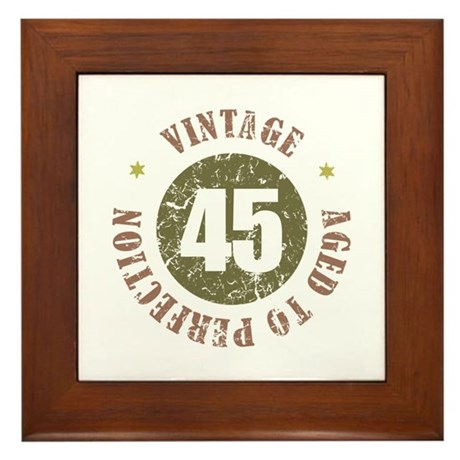 45th Vintage birthday Framed Tile
