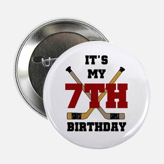 Hockey 7th Birthday Button