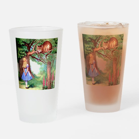 Alice and the Cheshire Cat Drinking Glass