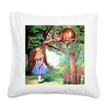 Alice and the Cheshire Cat Square Canvas Pillow