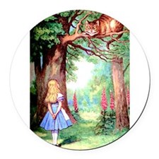 Alice and the Cheshire Cat Round Car Magnet