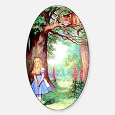 Alice and the Cheshire Cat Sticker (Oval)