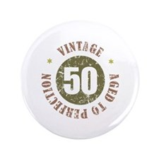 "50th Vintage birthday 3.5"" Button"