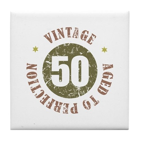 50th Vintage birthday Tile Coaster