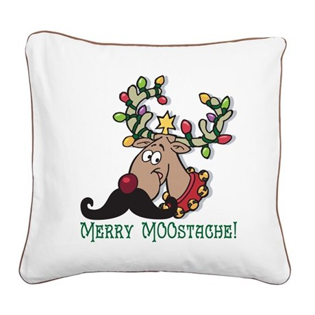 Merry Moostache Square Canvas Pillow