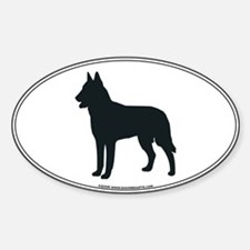 Belgian Malinois Silhouette Oval Decal