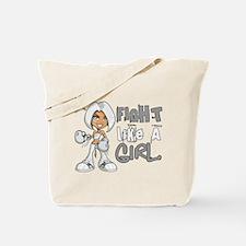 Licensed Fight Like a Girl 42.8 Bone Canc Tote Bag