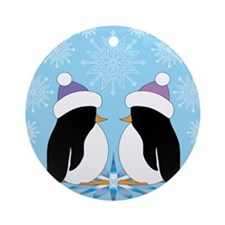Playful Penguins Ornament (Round)