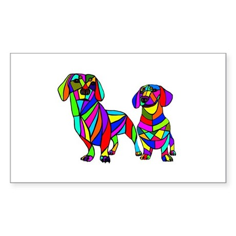 Colored Doxies Two Sticker (Rectangle)