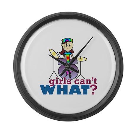 Drummer Girl Large Wall Clock