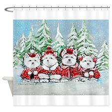 Christmas Westies Shower Curtain