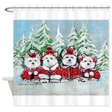 Westie Christmas Shower Curtain