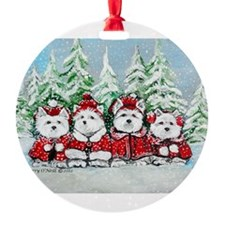 Christmas Westies Round Ornament