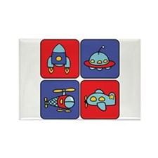 Flying Vehicle Squares Rectangle Magnet (10 pack)