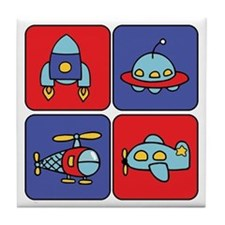 Flying Vehicle Squares Tile Coaster