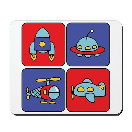 Flying Vehicle Squares Mousepad
