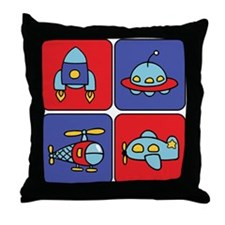 Flying Vehicle Squares Throw Pillow