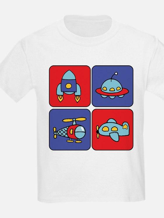 Flying Vehicle Squares Kids T-Shirt
