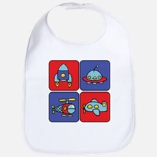 Flying Vehicle Squares Bib