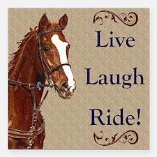 "Live! Laugh! Ride! Horse Square Car Magnet 3"" x 3"""