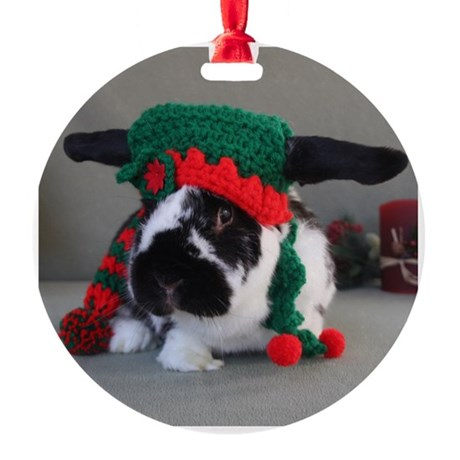 Bunny Holiday Ornament Round Ornament