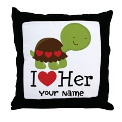 Personalized Valentine Turtle Throw Pillow