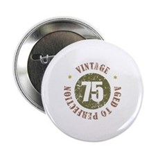 "75th Vintage birthday 2.25"" Button (100 pack)"