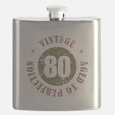 80th Vintage birthday Flask