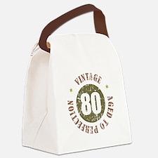 80th Vintage birthday Canvas Lunch Bag