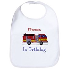Fireman In Traing Baby Bib