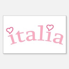 """""""Italia with Hearts"""" Rectangle Decal"""