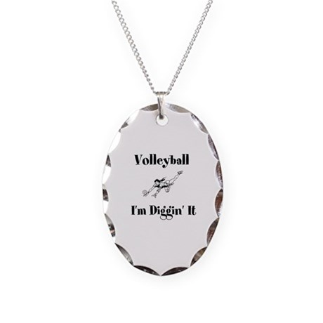 Volleyball I'm Diggin' It Necklace Oval Charm