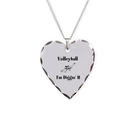 Volleyball I'm Diggin' It Necklace Heart Charm