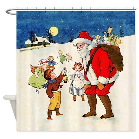 Vintage Christmas Santa Claus Shower Curtain