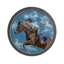 Horse Jumper in the Clouds Wall Clock