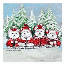 """Christmas Westies II.png Square Car Magnet 3"""" x 3"""""""