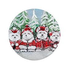 "Christmas Westies II.png 3.5"" Button"