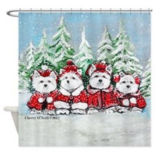 Christmas Westies II.png Shower Curtain